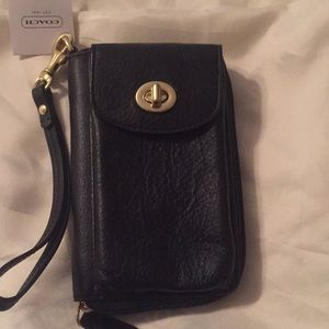 Coach leather wristlet (new never used)